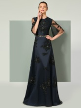 Beading A-Line Half Sleeves Lace Sashes Floor-Length Evening Dress