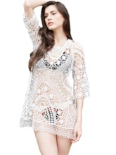 Hollow See-Through Embroidery Raglan Sleeve Cover-Up