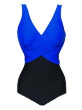 V-Neck Pleated Patchwork One-Piece Swimsuit