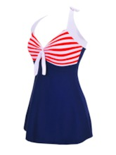 Polka Dots Lace-Up Women's One Piece Swimsuit