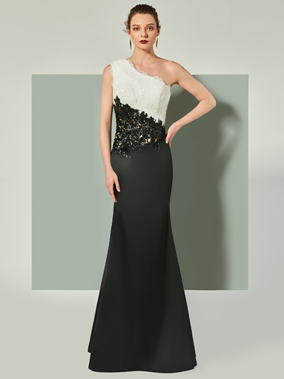 One-Shoulder Appliques Mermaid Lace Floor-Length Evening Dress