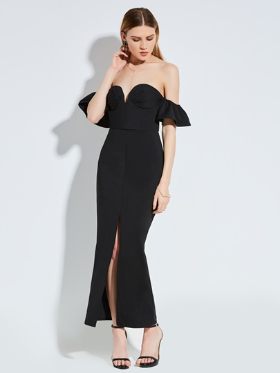 Strapless Ruffle Sleeve Backless Women's Maxi Dress
