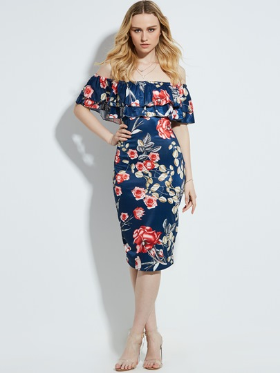 Slash Neck Floral Print Vacation Mid-Calf Women's Sheath Dress