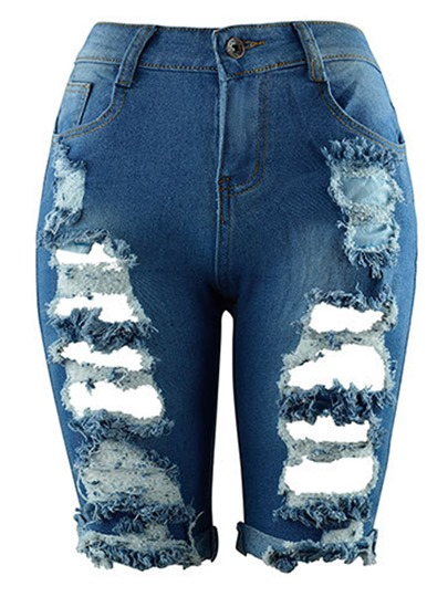 Ripped Denim Shorts Women's Jeans