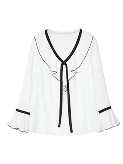 Bell Sleeve Color Block Women's Blouse
