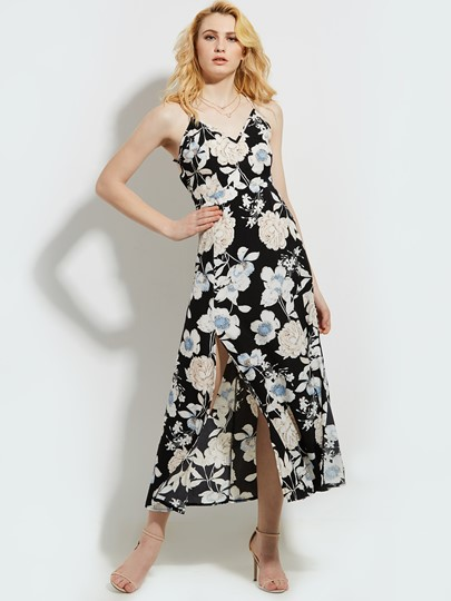 Vacation Flower Print Backless Women's Maxi Dress