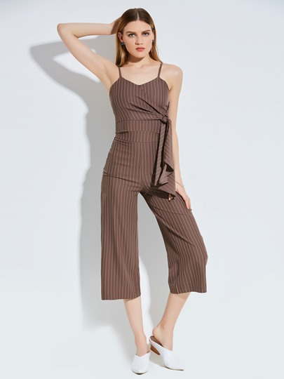 Stripe Mid-Calf Wide Legs Women's Pants Suit