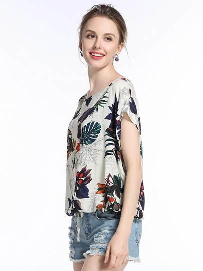 Floral Print Loose Batwing Women's T-Shirt
