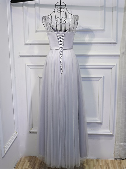 Beading Scoop Sashes A-Line Sequins Floor-Length Prom Dress
