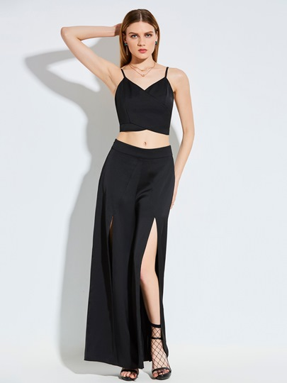 Cami Tank Top and Split Pants Women's Two Piece Set
