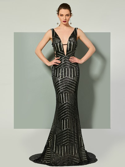 V-Neck Sequins Trumpet Sleeveless Court Train Evening Dress