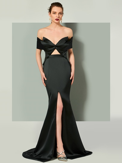 Trumpet V-Neck Short Sleeves Split-Front Evening Dress