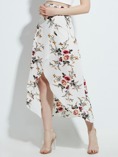 Vacation High-Waist Flower Print Irregularity Women's Skirt