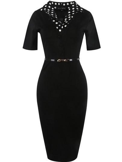 Belt Button Notched Lapel Pencil Women's Sheath Dress