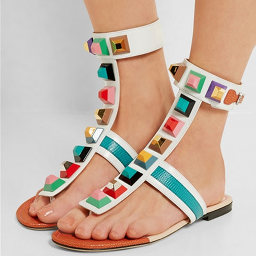 Color Block Strappy Rivet Leather Summer Sandals for Women