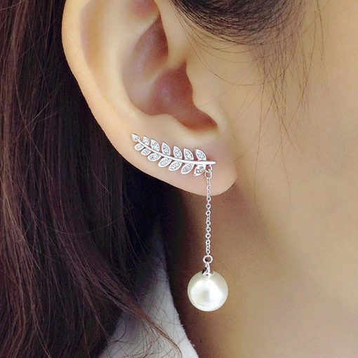 Charming Asymmetric Diamante Pearl Earrings