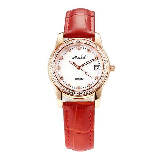 Diamante Round Dial Artificial Leather Band Watch