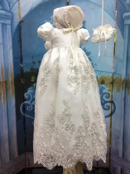 Beading Appliques Baby Girls Christening Gown with Bonnet