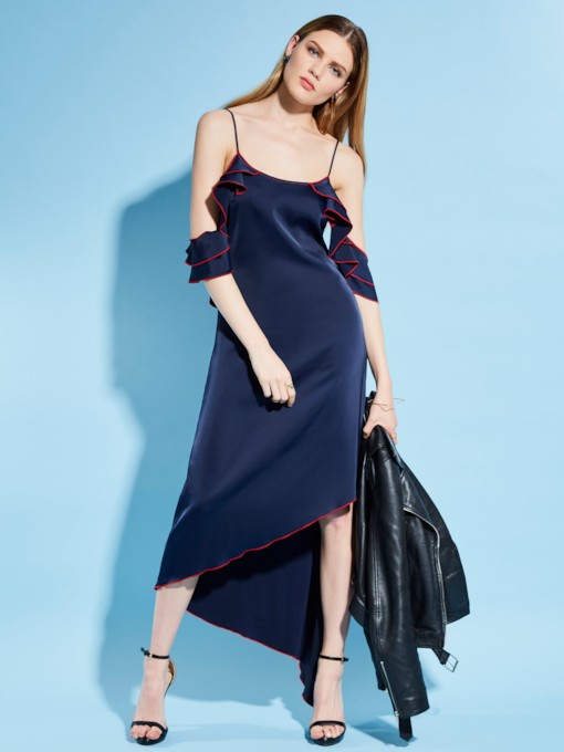 Asymmetric Falbala Spaghetti Strap Women's Maxi Dress