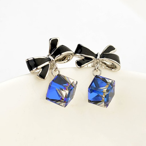 Blue Square Crystal-Shaped Bowknot Earrings
