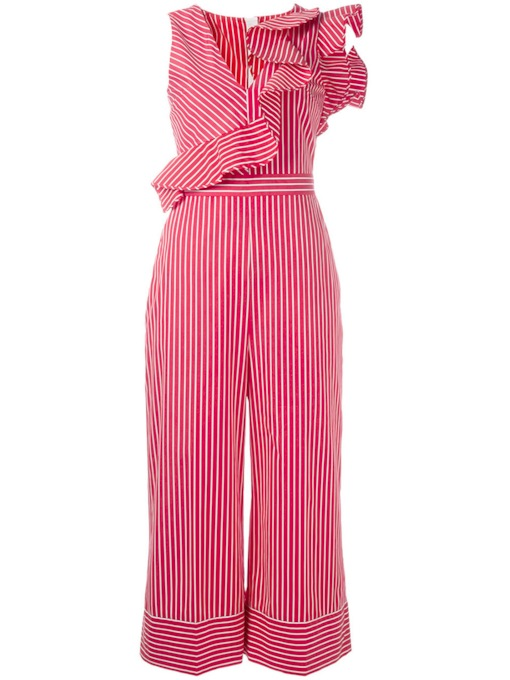 Stripe Falbala High-Waist Wide Legs Women's Jumpsuit