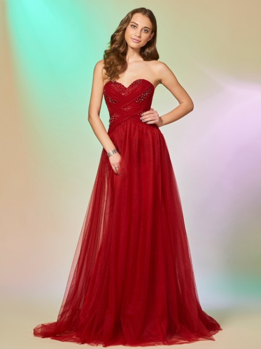 A-Line Sweetheart Sleeveless Beading Brush Train Prom Dress