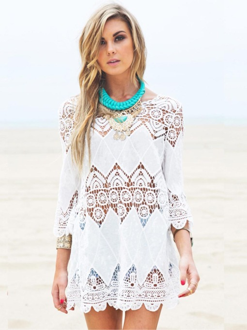8beee03fa7e5d Hollow Embroidery Half Sleeve Cover-Up