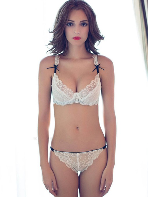 Embroidery Underwire Bowknot Bar and Brief