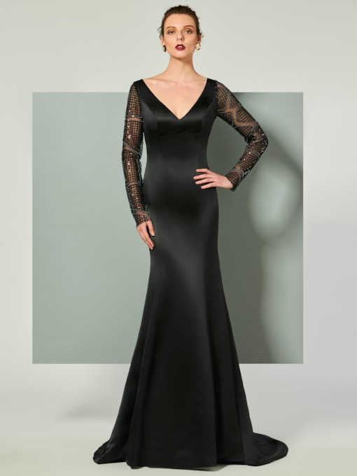 Trumpet V-Neck Long Sleeves Lace Court Train Evening Dress