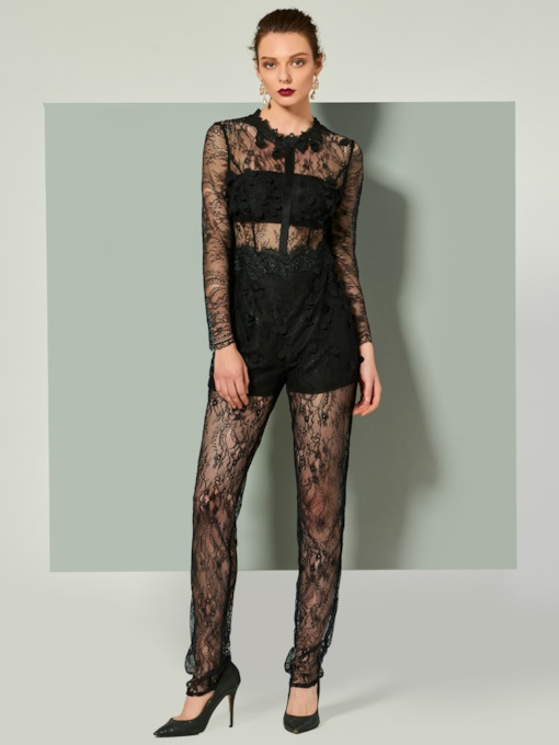 Sheath Scoop Long Sleeves Lace Evening Jumpsuits