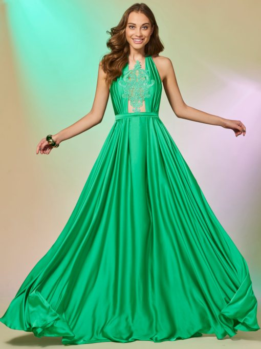 Halter A-Line Appliques Floor-Length Prom Dress