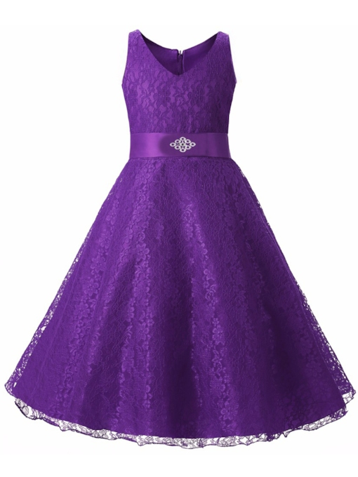 Bowknot Beading Lace Flower Girl Dress 2019
