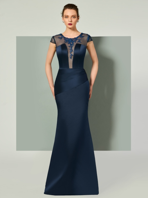 Scoop Mermaid Appliques Pleats Sashes Evening Dress