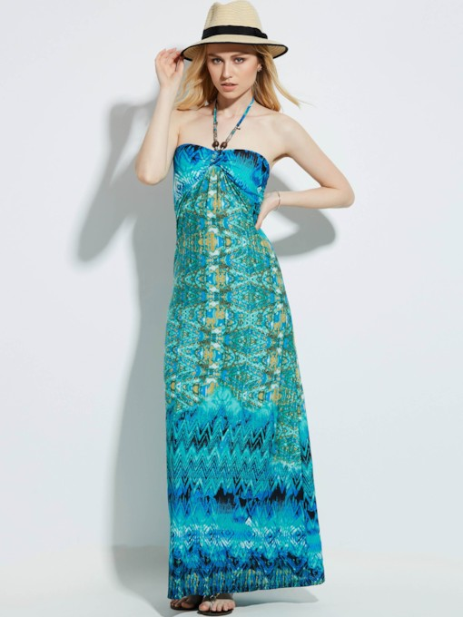 Strapless Geometric Pattern Vacation Backless Women's Maxi Dress