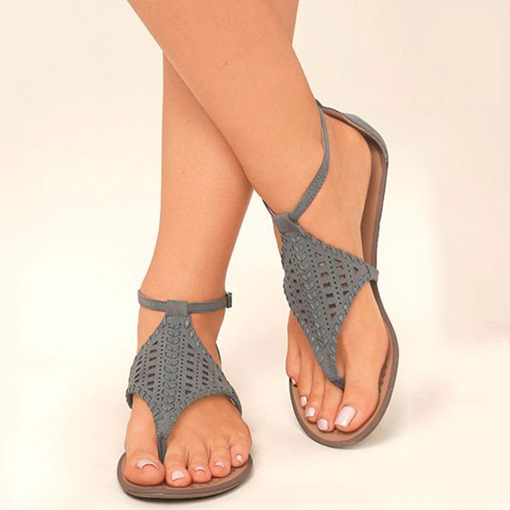 Hollow Heel Covering Flat Thong Sandals
