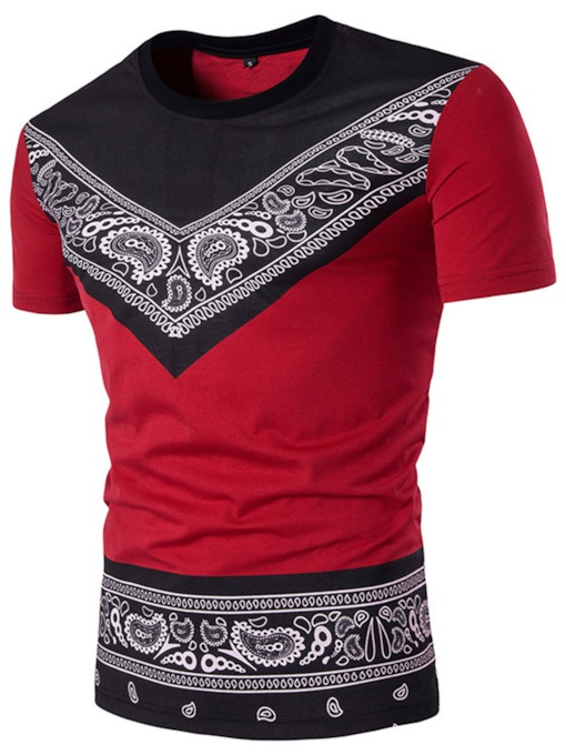 African Fashion Ethnic Stylish Print Color Block Round Neck Loose Men's T-shirt