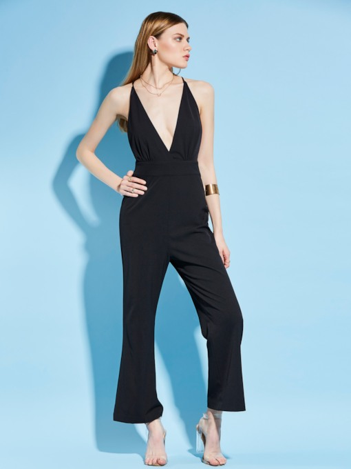 Black V-Neck Backless Slim Full Length Women's Jumpsuit