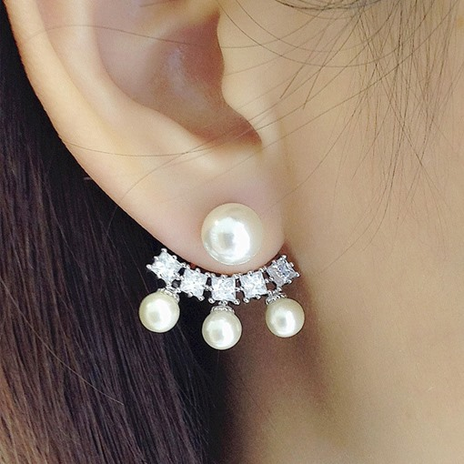 Lovely Pearl Design Front and Back Earrings