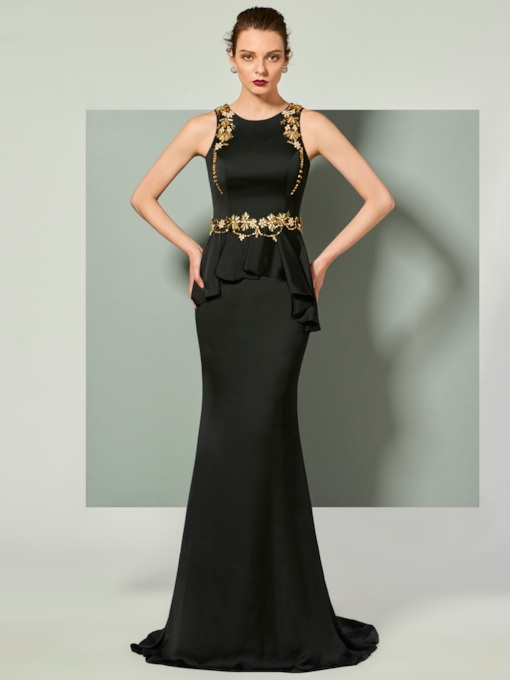 Scoop Sleeveless Trumpet Beaded Brush Train Evening Dress