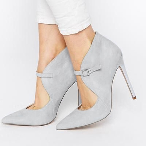 Pointed Toe Suede Plain Buckle Women's Pumps