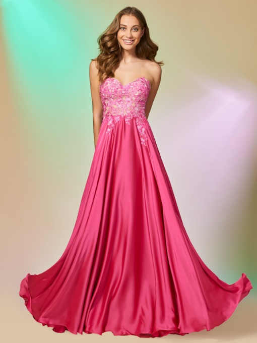 Appliques Sweetheart A-Line Long Prom Dress