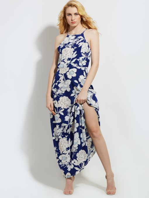 Vacation Blue Open Back Floral Printed Women's Maxi Dress