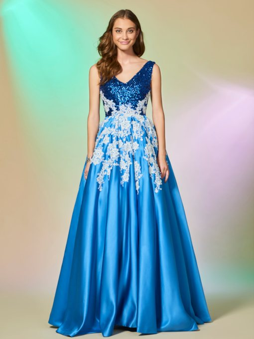 A-Line Appliques Lace Sequins Long Evening Dress