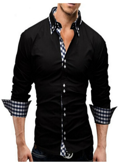 Men's Long Sleeve Shirt with Plaid Closure