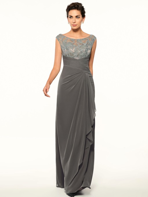 Button Appliques Sheath Mother Of The Bride Dress