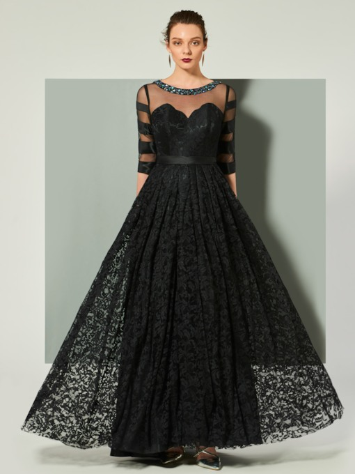 Half Sleeves Jewel A-Line Beaded Lace Evening Dress