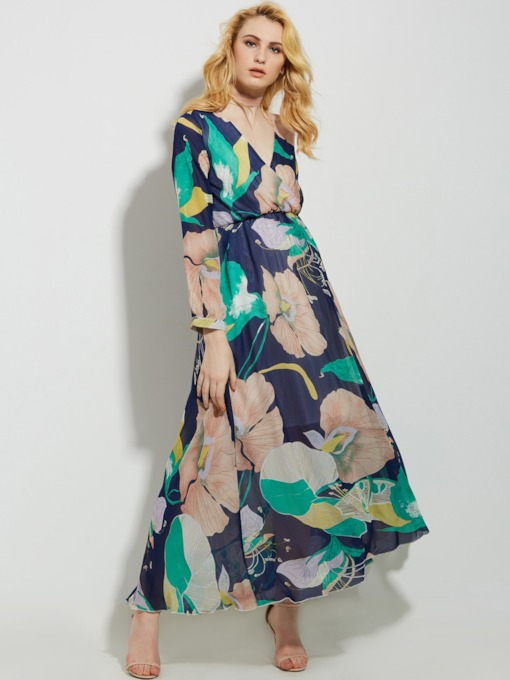 Chiffon Split Printing Vacation Women's Maxi Dress