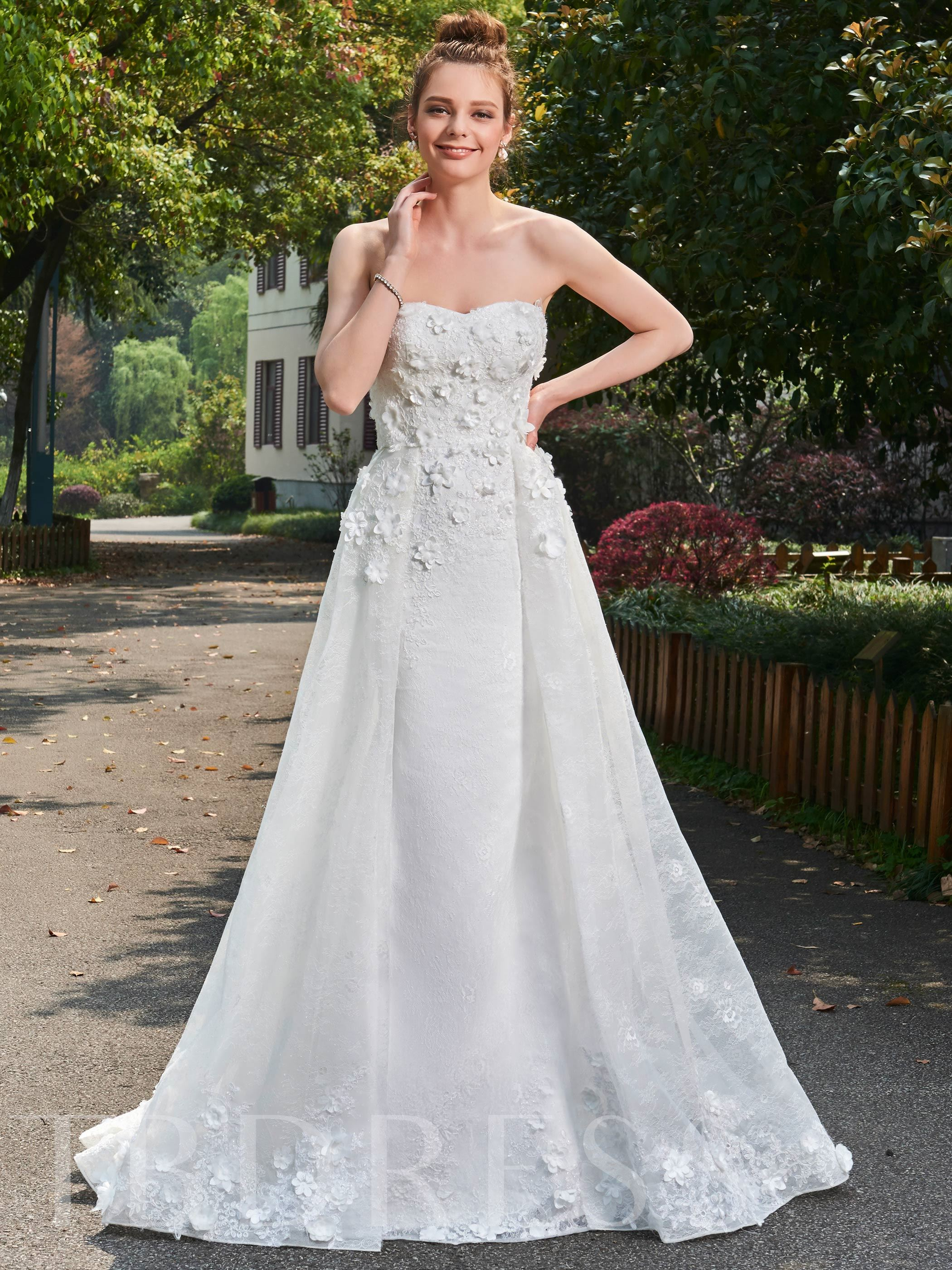 Image of A-Line Strapless Sweetheart Floral Appliques Lace Wedding Dress
