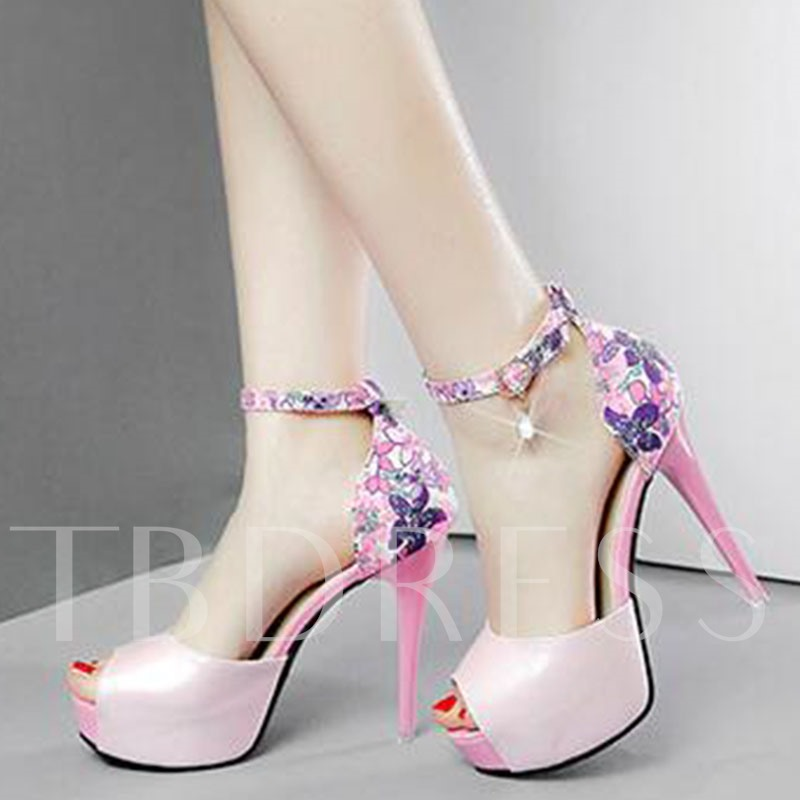 Floral Print Stiletto Heel Women's Sandals