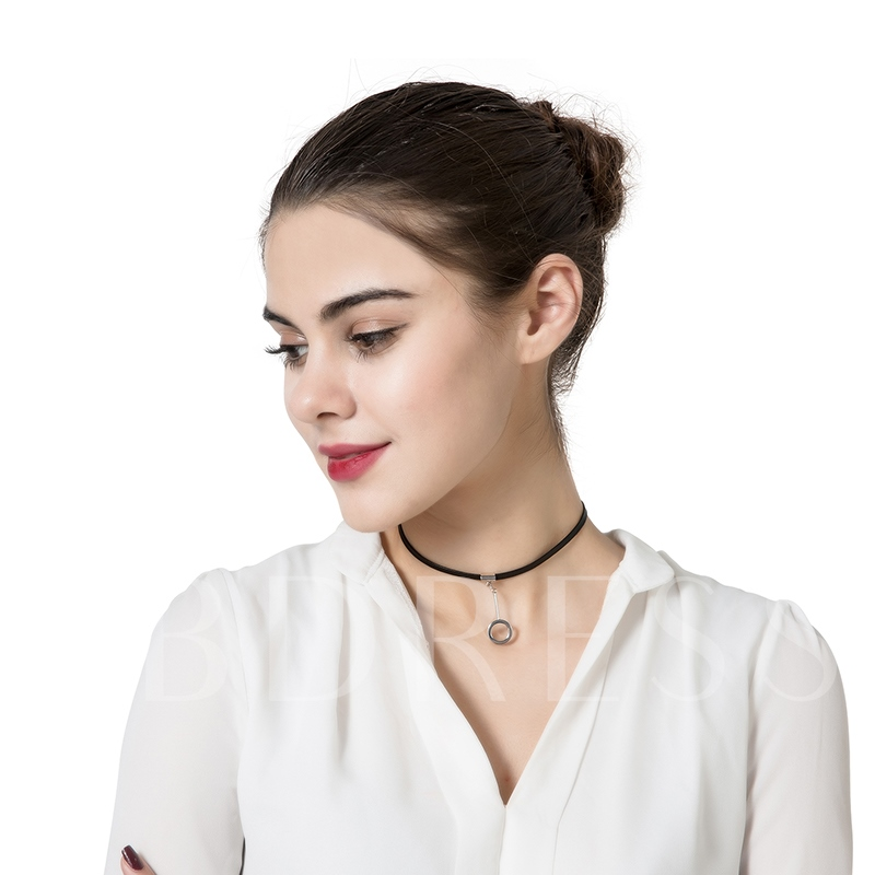 Thin Rope Circle Alloy Torques Choker Necklace
